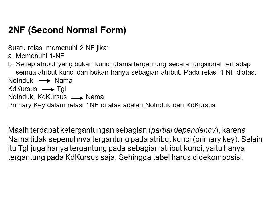 2NF (Second Normal Form) Suatu relasi memenuhi 2 NF jika: a. Memenuhi 1-NF. b. Setiap atribut yang bukan kunci utama tergantung secara fungsional terh