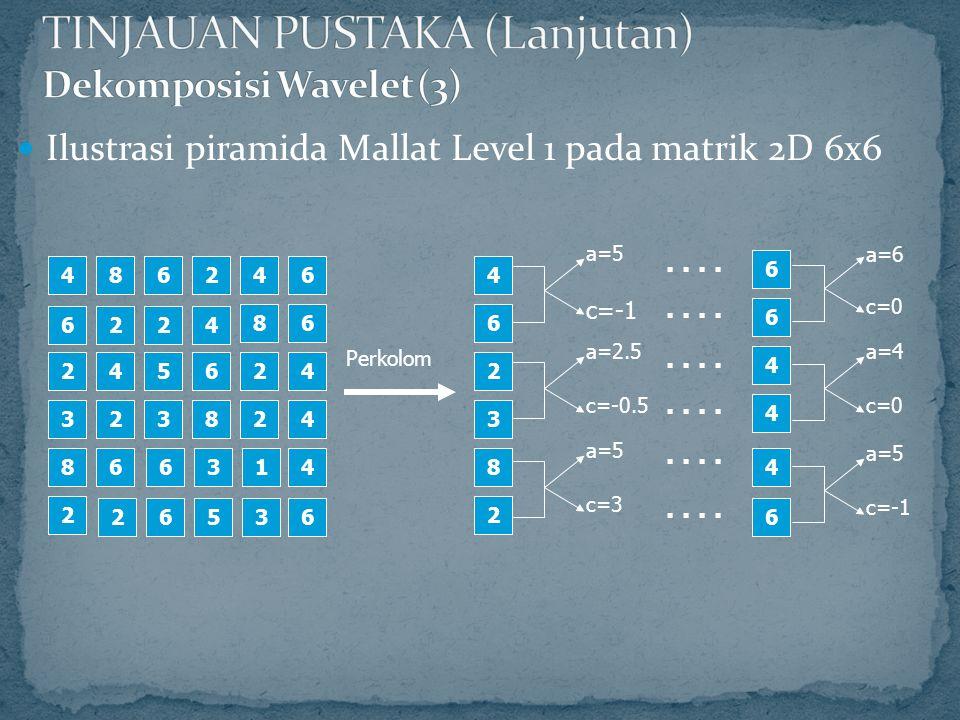 Ilustrasi piramida Mallat Level 1 pada matrik 2D 6x6 4 2 8 6 2 32 4 2 6 3 5 4 2 8 6 4 6 2 3 a=5 c=-1 a=2.5 c=-0.5..