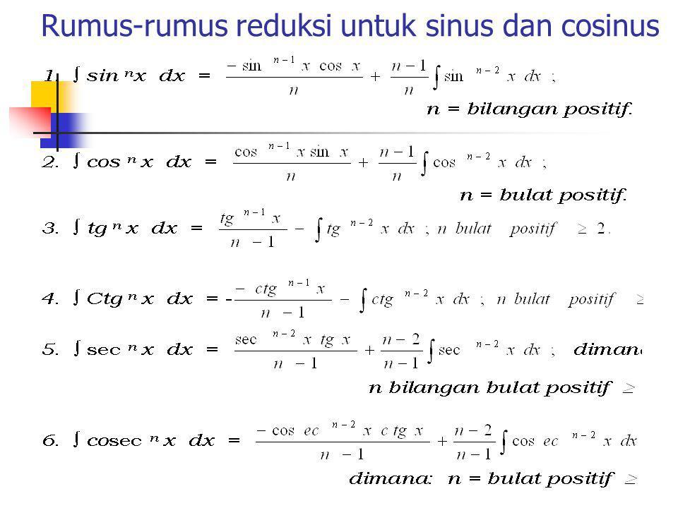Pengintegralan perpangkatan Sinus dan Cosinus Dalam bagian ini akan dipelajari metode untuk menyelesaikan integral bentuk: Dengan m dan n bilangan bulat tak negatif.