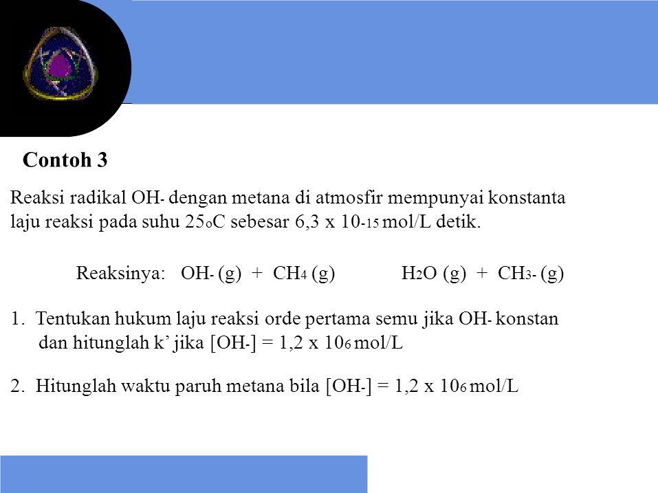 Contoh 3 Reaksi radikal OH - dengan metana di atmosfir mempunyai konstanta laju reaksi pada suhu 25 o C sebesar 6,3 x 10 -15 mol/L detik. Reaksinya: O