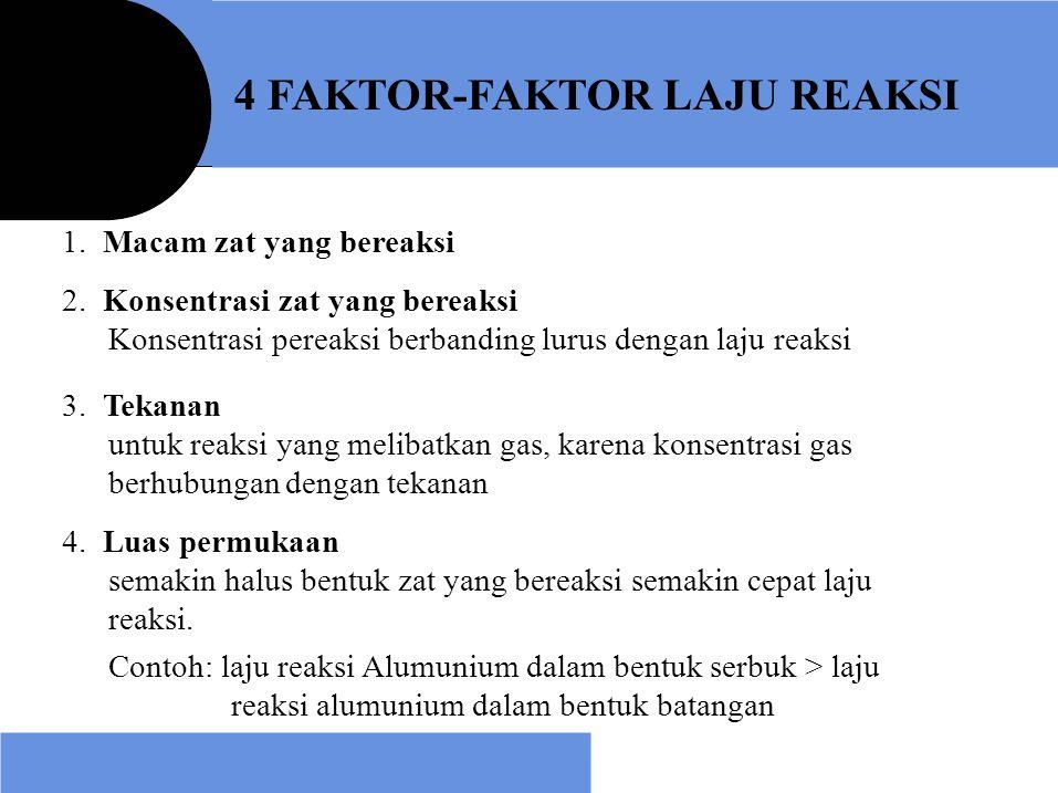 4 FAKTOR-FAKTOR LAJU REAKSI 1. Macam zat yang bereaksi 2. Konsentrasi zat yang bereaksi Konsentrasi pereaksi berbanding lurus dengan laju reaksi 3. Te