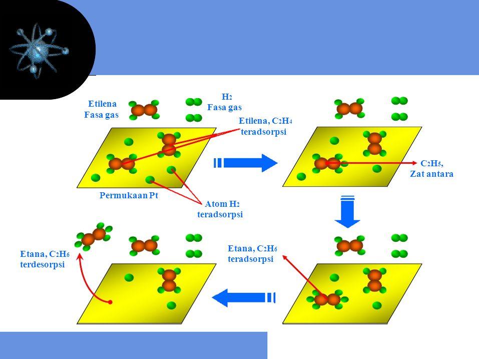 Etilena Fasa gas Permukaan Pt H 2 Fasa gas Etilena, C 2 H 4 teradsorpsi Atom H 2 teradsorpsi C 2 H 5, Zat antara Etana, C 2 H 6 teradsorpsi Etana, C 2