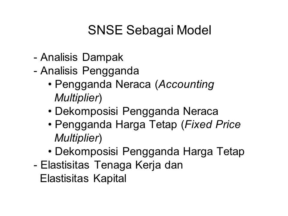 SNSE Sebagai Model - Analisis Dampak - Analisis Pengganda Pengganda Neraca (Accounting Multiplier) Dekomposisi Pengganda Neraca Pengganda Harga Tetap