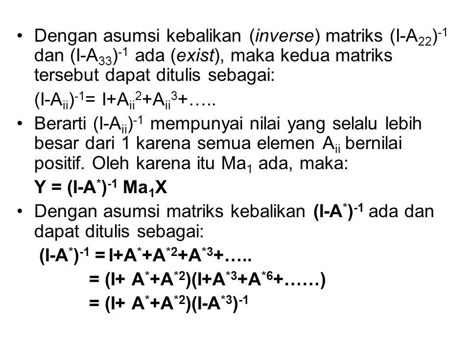 Dengan asumsi kebalikan (inverse) matriks (I-A 22 ) -1 dan (I-A 33 ) -1 ada (exist), maka kedua matriks tersebut dapat ditulis sebagai: (I-A ii ) -1 =