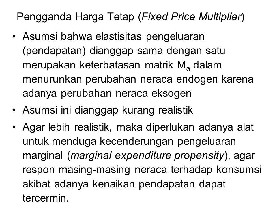 Pengganda Harga Tetap (Fixed Price Multiplier) Asumsi bahwa elastisitas pengeluaran (pendapatan) dianggap sama dengan satu merupakan keterbatasan matr