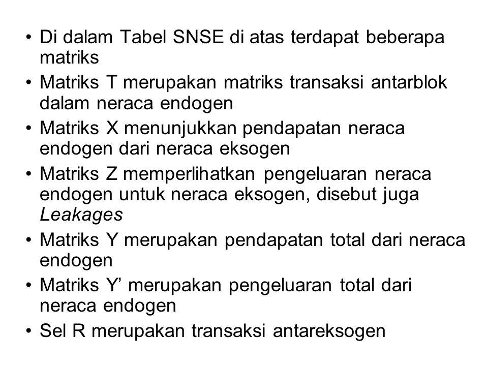 Di dalam Tabel SNSE di atas terdapat beberapa matriks Matriks T merupakan matriks transaksi antarblok dalam neraca endogen Matriks X menunjukkan penda