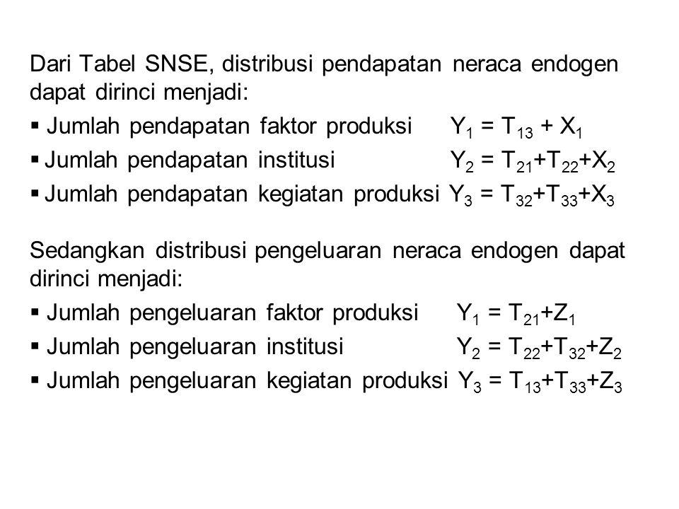 Dari Tabel SNSE, distribusi pendapatan neraca endogen dapat dirinci menjadi:  Jumlah pendapatan faktor produksi Y 1 = T 13 + X 1  Jumlah pendapatan