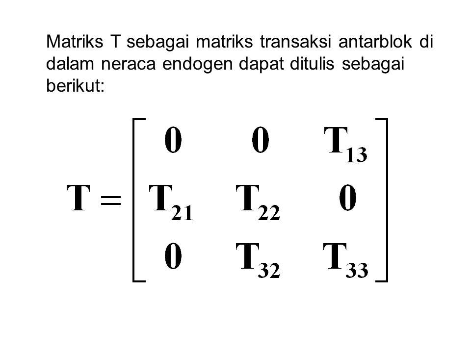 Matriks T sebagai matriks transaksi antarblok di dalam neraca endogen dapat ditulis sebagai berikut: