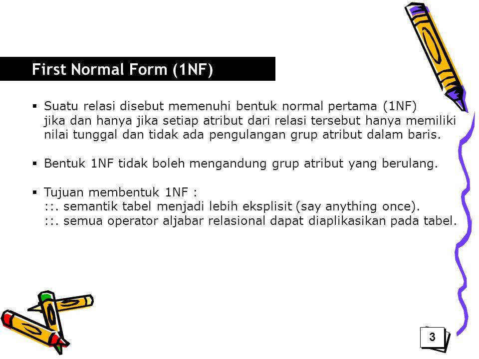  Suatu relasi disebut memenuhi bentuk normal pertama (1NF) jika dan hanya jika setiap atribut dari relasi tersebut hanya memiliki nilai tunggal dan t