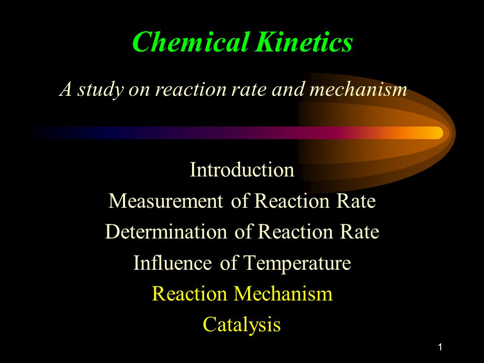 1 Chemical Kinetics Introduction Measurement of Reaction Rate Determination of Reaction Rate Influence of Temperature Reaction Mechanism Catalysis A s