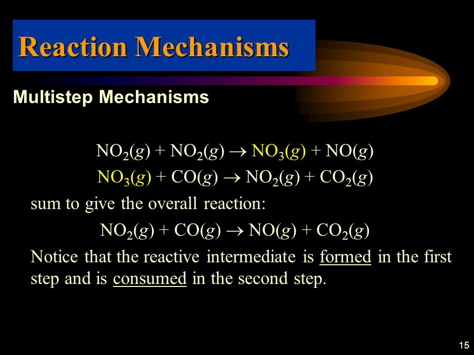 15 Multistep Mechanisms NO 2 (g) + NO 2 (g)  NO 3 (g) + NO(g) NO 3 (g) + CO(g)  NO 2 (g) + CO 2 (g) sum to give the overall reaction: NO 2 (g) + CO(g)  NO(g) + CO 2 (g) Notice that the reactive intermediate is formed in the first step and is consumed in the second step.
