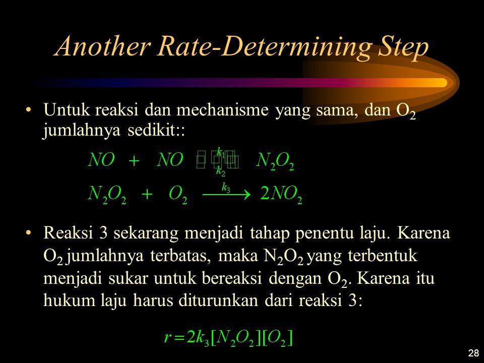 28 Another Rate-Determining Step Untuk reaksi dan mechanisme yang sama, dan O 2 jumlahnya sedikit:: Reaksi 3 sekarang menjadi tahap penentu laju. Kare