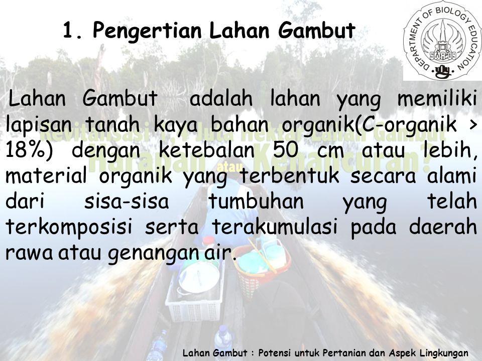 Lahan Gambut : Potensi untuk Pertanian dan Aspek Lingkungan 1.