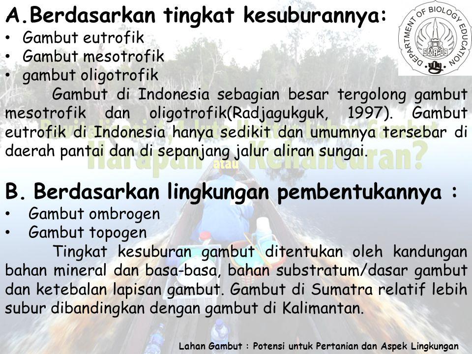Lahan Gambut : Potensi untuk Pertanian dan Aspek Lingkungan A.Berdasarkan tingkat kesuburannya: Gambut eutrofik Gambut mesotrofik gambut oligotrofik Gambut di Indonesia sebagian besar tergolong gambut mesotrofik dan oligotrofik(Radjagukguk, 1997).