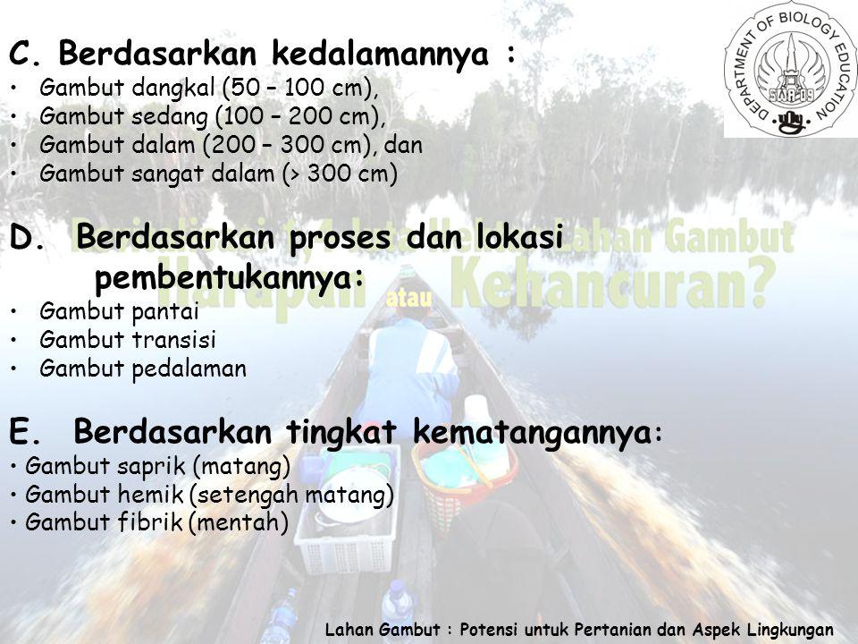 Lahan Gambut : Potensi untuk Pertanian dan Aspek Lingkungan C.