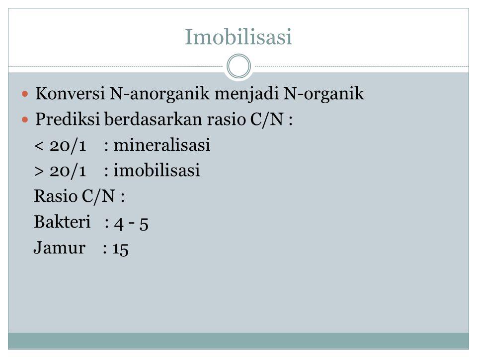 Mineralisasi Reaksi : NH 3 + 1,5 O 2 → NO 2 0 + H + + H 2 O NO 2 - + ½ O 2 → NO 3 - Faktor : populasi bakteri nitrifikasi, aerasi tanah, ketersediaan