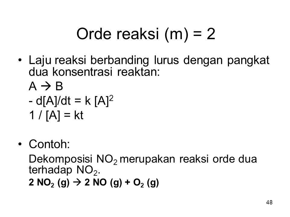 48 Orde reaksi (m) = 2 Laju reaksi berbanding lurus dengan pangkat dua konsentrasi reaktan: A  B - d[A]/dt = k [A] 2 1 / [A] = kt Contoh: Dekomposisi NO 2 merupakan reaksi orde dua terhadap NO 2.