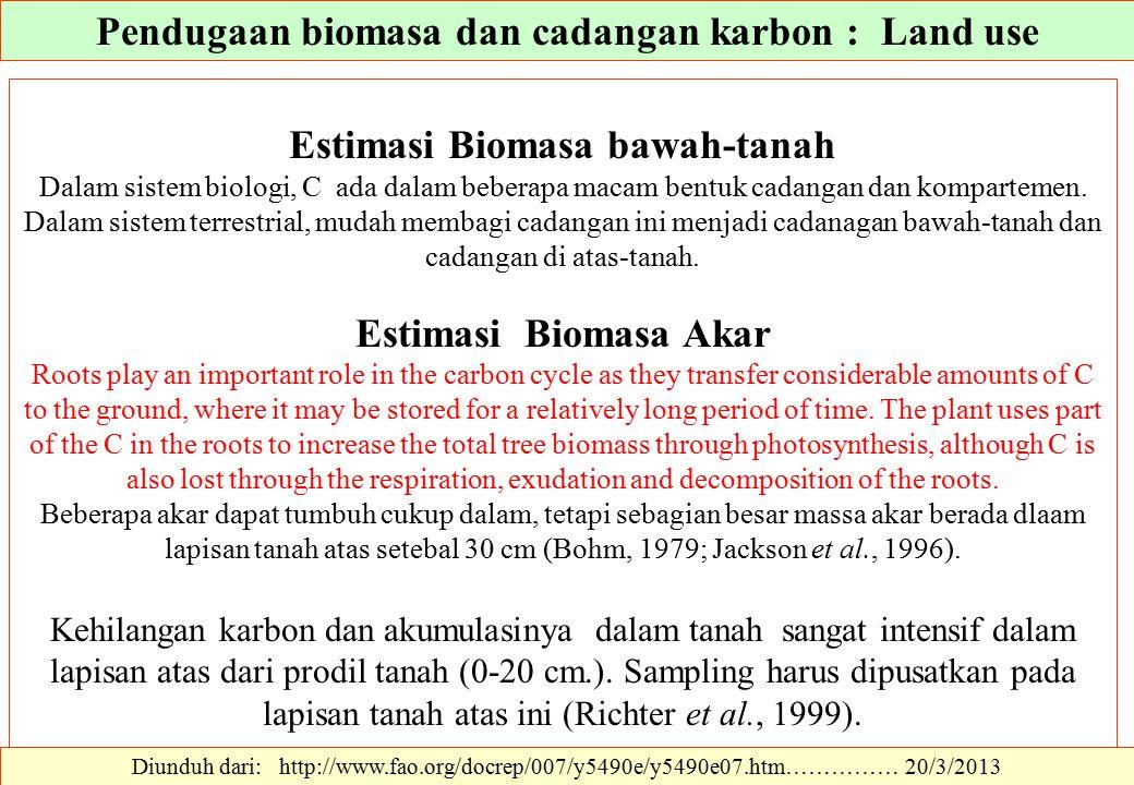 Estimasi Biomasa bawah-tanah Dalam sistem biologi, C ada dalam beberapa macam bentuk cadangan dan kompartemen. Dalam sistem terrestrial, mudah membagi