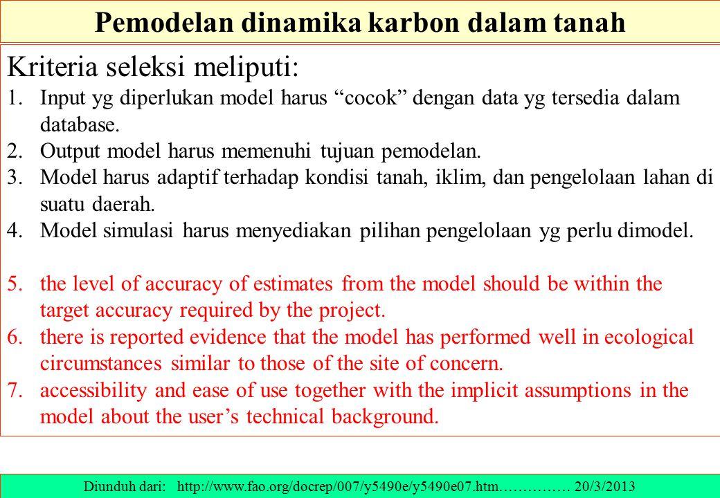 """Kriteria seleksi meliputi: 1.Input yg diperlukan model harus """"cocok"""" dengan data yg tersedia dalam database. 2.Output model harus memenuhi tujuan pemo"""