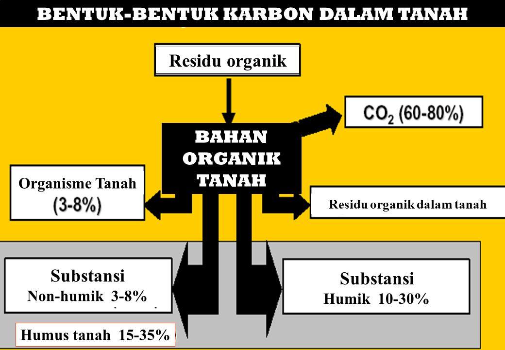 BAHAN ORGANIK TANAH BENTUK-BENTUK KARBON DALAM TANAH Residu organik Residu organik dalam tanah Organisme Tanah Substansi Non-humik 3-8% Substansi Humi