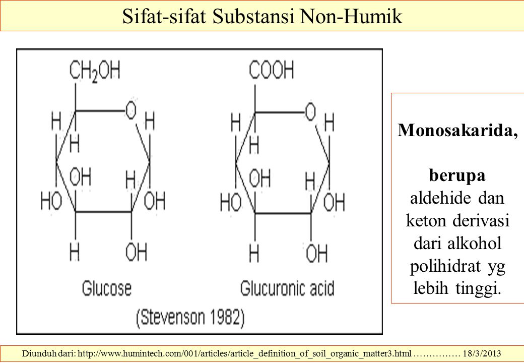 Diunduh dari: http://www.humintech.com/001/articles/article_definition_of_soil_organic_matter3.html …………… 18/3/2013 Sifat-sifat Substansi Non-Humik Mo