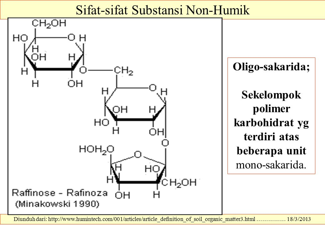 Diunduh dari: http://www.humintech.com/001/articles/article_definition_of_soil_organic_matter3.html …………… 18/3/2013 Sifat-sifat Substansi Non-Humik Ol