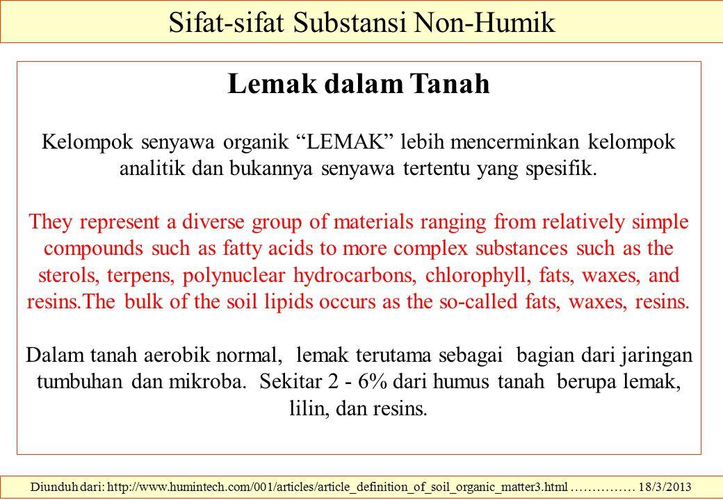 Diunduh dari: http://www.humintech.com/001/articles/article_definition_of_soil_organic_matter3.html …………… 18/3/2013 Sifat-sifat Substansi Non-Humik Le