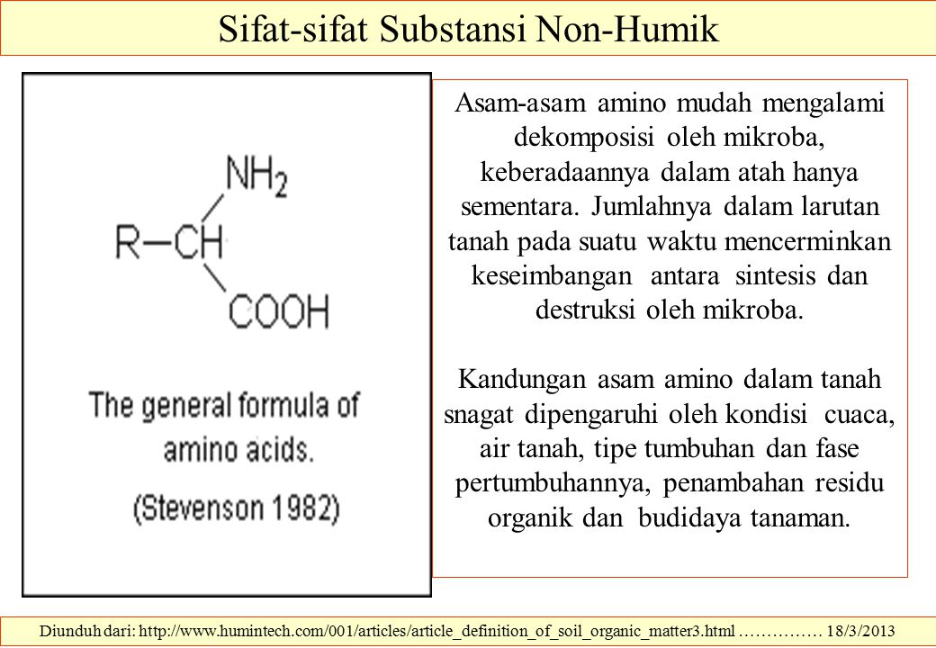 Diunduh dari: http://www.humintech.com/001/articles/article_definition_of_soil_organic_matter3.html …………… 18/3/2013 Sifat-sifat Substansi Non-Humik As