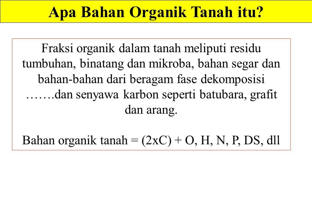 Apa Bahan Organik Tanah itu? Fraksi organik dalam tanah meliputi residu tumbuhan, binatang dan mikroba, bahan segar dan bahan-bahan dari beragam fase