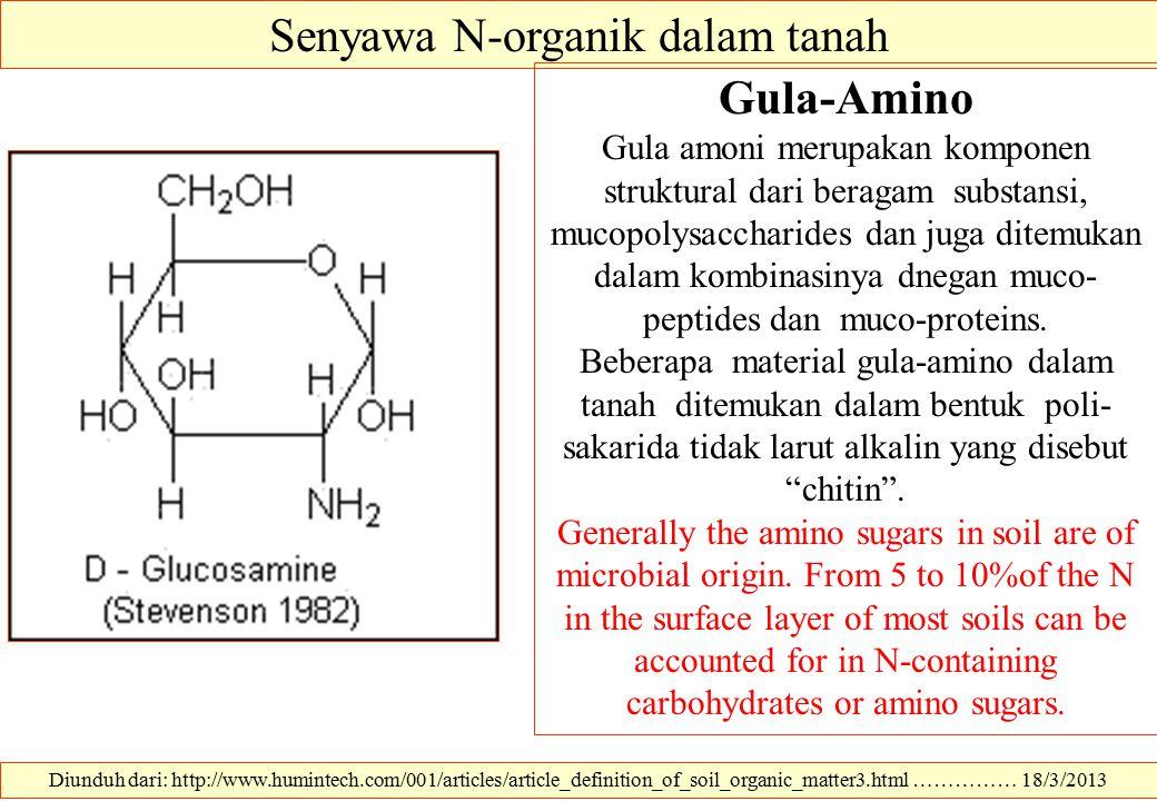 Diunduh dari: http://www.humintech.com/001/articles/article_definition_of_soil_organic_matter3.html …………… 18/3/2013 Senyawa N-organik dalam tanah Gula