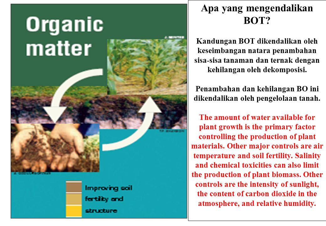 Apa yang mengendalikan BOT? Kandungan BOT dikendalikan oleh keseimbangan natara penambahan sisa-sisa tanaman dan ternak dengan kehilangan oleh dekompo