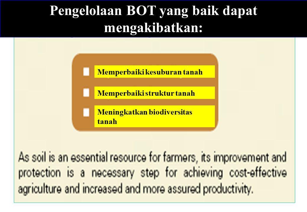 Pengelolaan BOT yang baik dapat mengakibatkan: Memperbaiki kesuburan tanah Memperbaiki struktur tanah Meningkatkan biodiversitas tanah