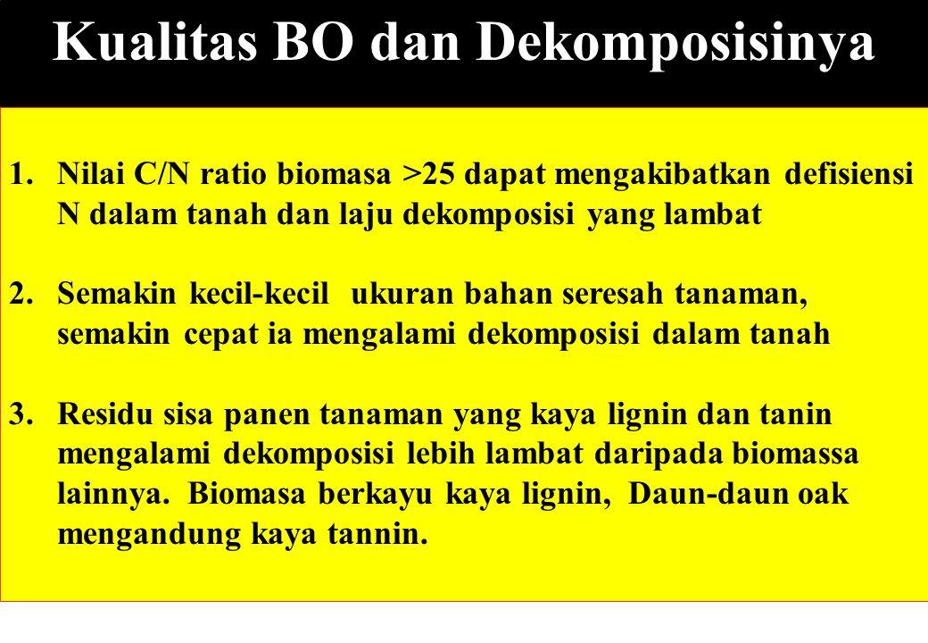 Kualitas BO dan Dekomposisinya 1.Nilai C/N ratio biomasa >25 dapat mengakibatkan defisiensi N dalam tanah dan laju dekomposisi yang lambat 2.Semakin k