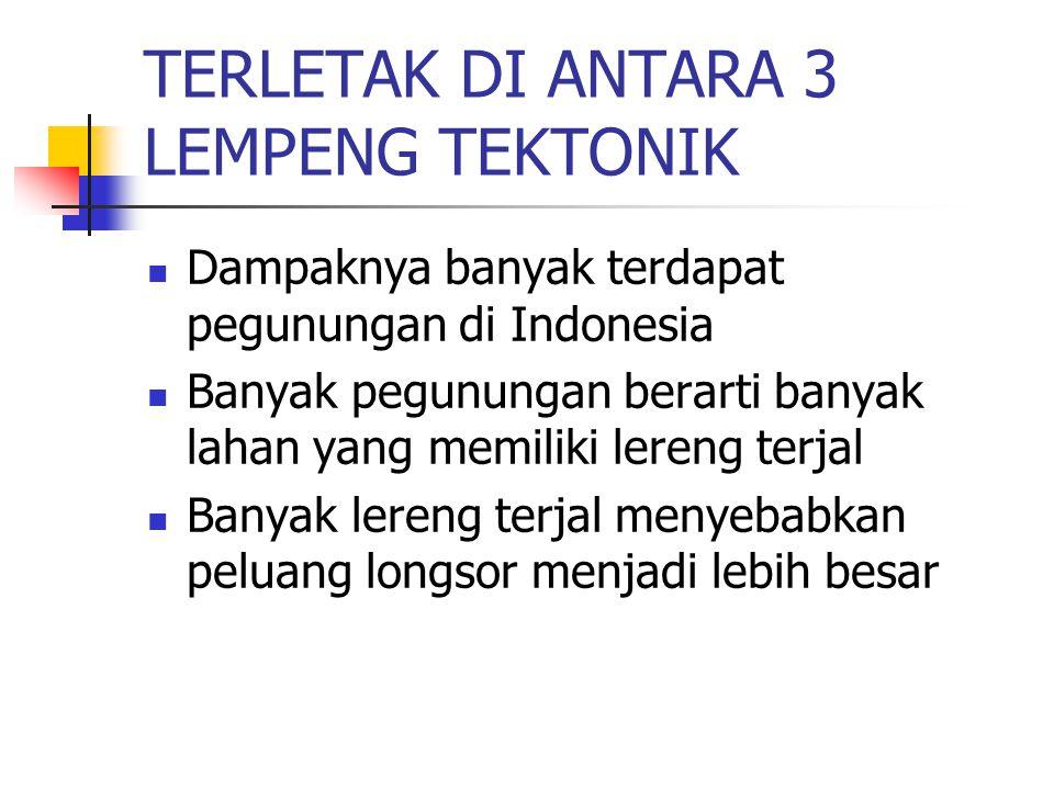 TERLETAK DI ANTARA 3 LEMPENG TEKTONIK Dampaknya banyak terdapat pegunungan di Indonesia Banyak pegunungan berarti banyak lahan yang memiliki lereng te