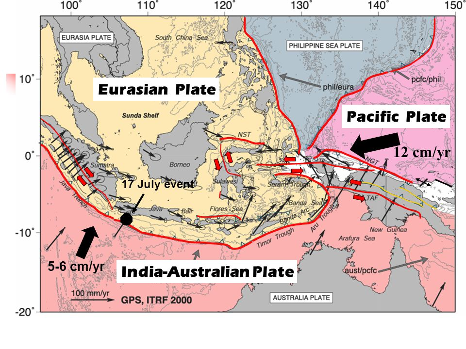 ACTIVE TECTONICS of INDONESIA: Crustal motions from GPS study (Bock et al, 2004) India-Australian Plate Eurasian Plate Pacific Plate 5-6 cm/yr 12 cm/y