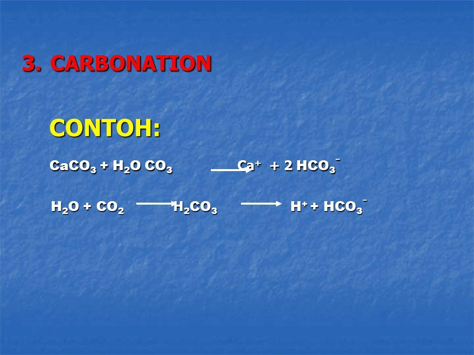 3. CARBONATION CONTOH: CONTOH: CaCO 3 + H 2 O CO 3 Ca + + 2 HCO 3 - CaCO 3 + H 2 O CO 3 Ca + + 2 HCO 3 - H 2 O + CO 2 H 2 CO 3 H + + HCO 3 - H 2 O + C