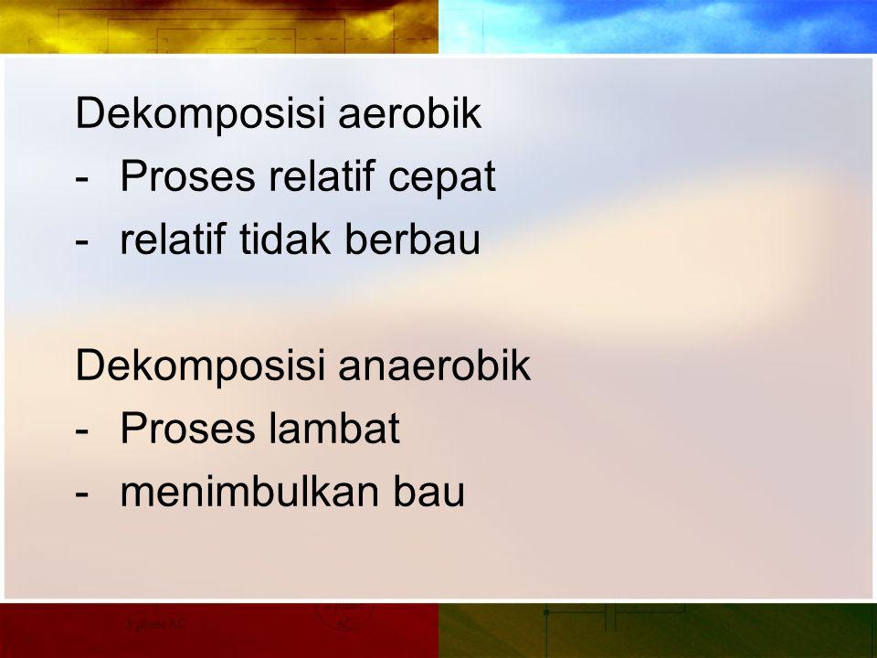 Dekomposisi aerobik - Proses relatif cepat - relatif tidak berbau Dekomposisi anaerobik - Proses lambat - menimbulkan bau
