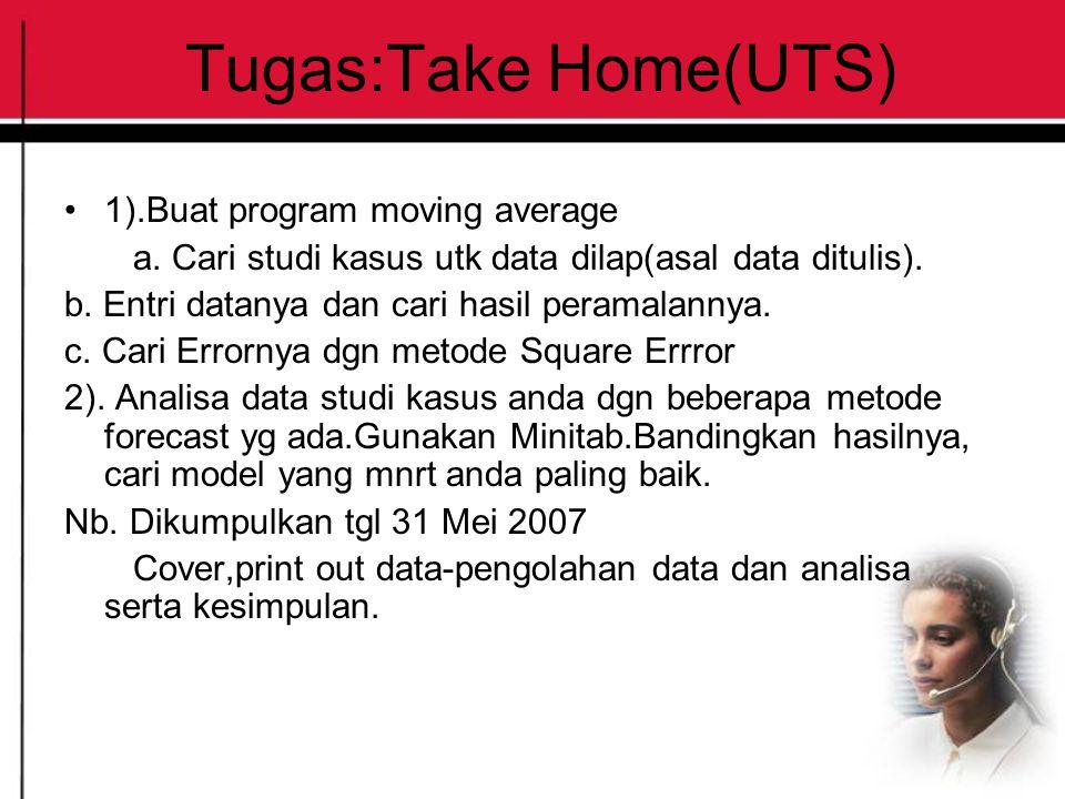 Tugas:Take Home(UTS) 1).Buat program moving average a. Cari studi kasus utk data dilap(asal data ditulis). b. Entri datanya dan cari hasil peramalanny