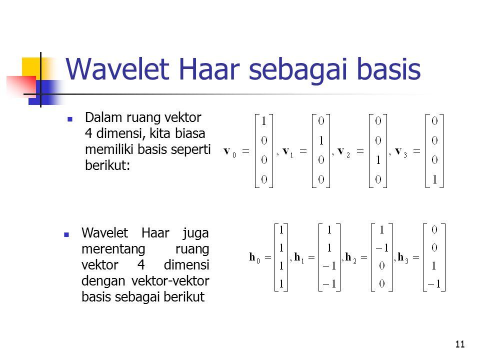 Wavelet Haar sebagai basis Dalam ruang vektor 4 dimensi, kita biasa memiliki basis seperti berikut: Wavelet Haar juga merentang ruang vektor 4 dimensi