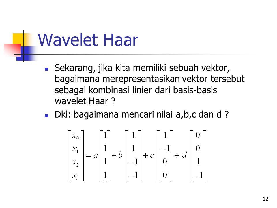 Wavelet Haar Sekarang, jika kita memiliki sebuah vektor, bagaimana merepresentasikan vektor tersebut sebagai kombinasi linier dari basis-basis wavelet
