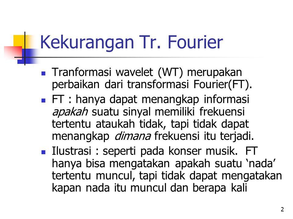 Kekurangan Tr. Fourier Tranformasi wavelet (WT) merupakan perbaikan dari transformasi Fourier(FT). FT : hanya dapat menangkap informasi apakah suatu s
