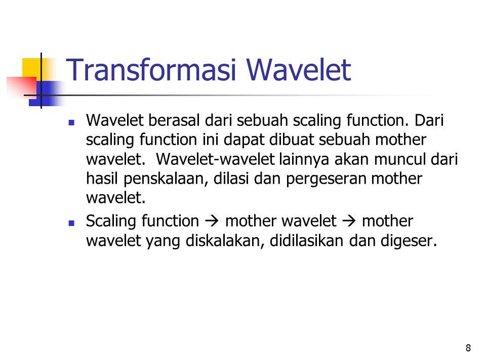 Rumus Scaling Function dan Wavelet Rumus Scaling function : Rumus wavelet: Wavelet dapat dibedakan berdasarkan rumusan scaling functionnya Wavelet Haar memiliki scaling function dengan koefisien c0 = c1 = 1.