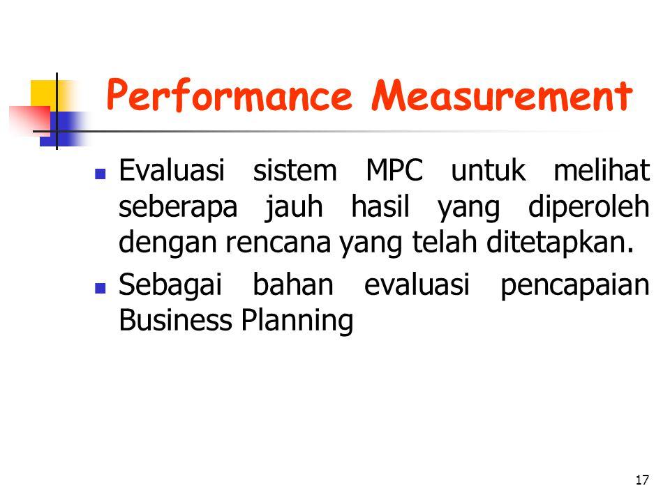 17 Performance Measurement Evaluasi sistem MPC untuk melihat seberapa jauh hasil yang diperoleh dengan rencana yang telah ditetapkan. Sebagai bahan ev