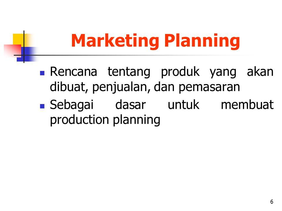 6 Marketing Planning Rencana tentang produk yang akan dibuat, penjualan, dan pemasaran Sebagai dasar untuk membuat production planning