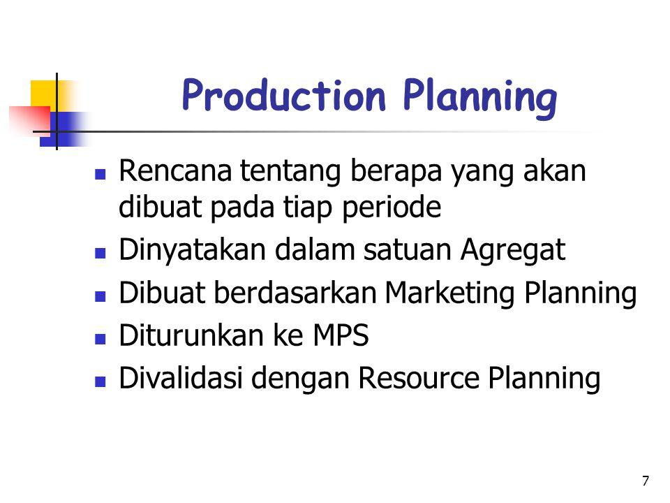 7 Production Planning Rencana tentang berapa yang akan dibuat pada tiap periode Dinyatakan dalam satuan Agregat Dibuat berdasarkan Marketing Planning