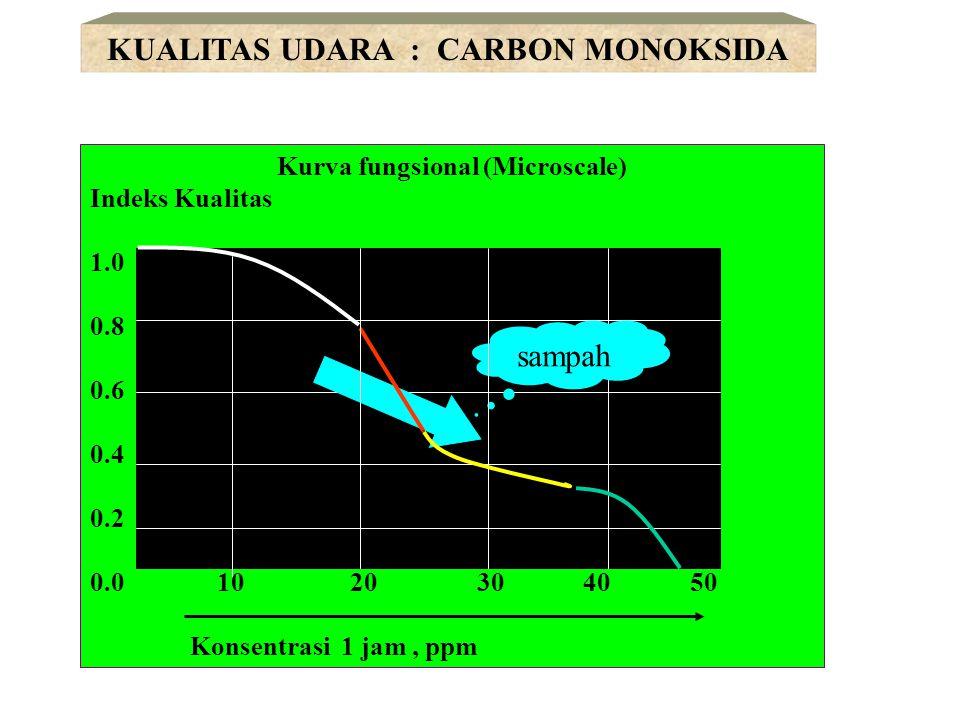 Kurva fungsional (Microscale) Indeks Kualitas 1.0 0.8 0.6 0.4 0.2 0.0 0.1 0.2 0.3 0.4 Rataan 3 jam (06.00 - 09.00), ppm KUALITAS UDARA : HIDROKARBON sampah