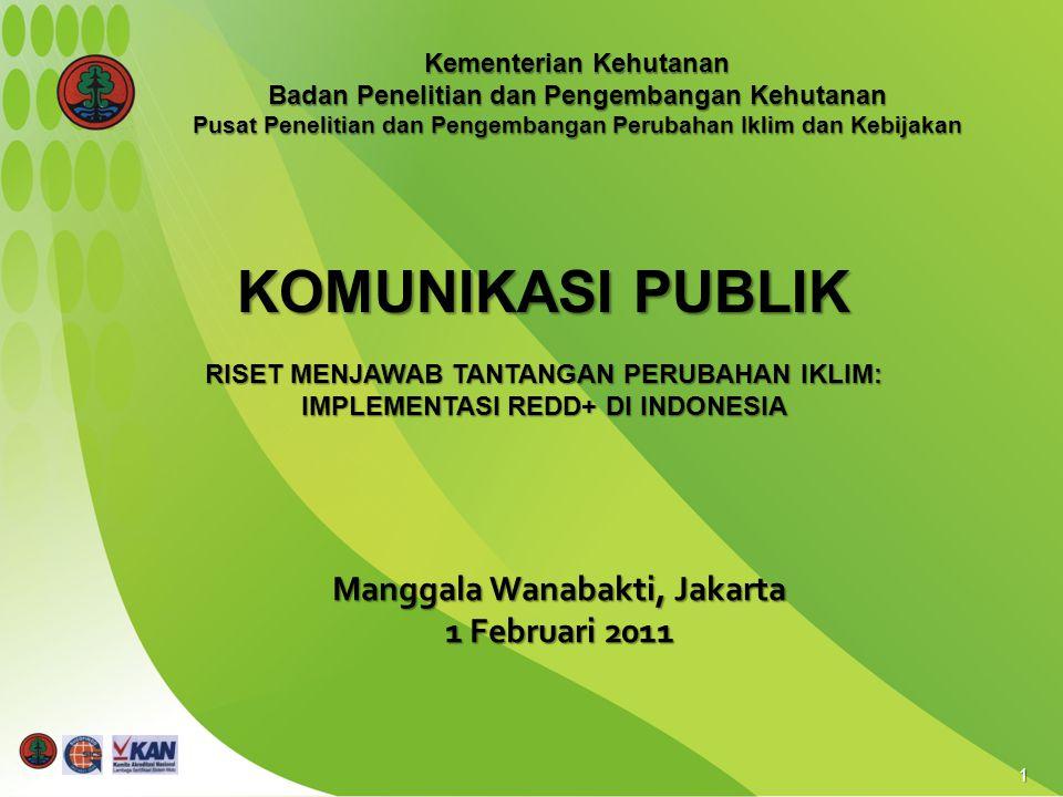 1 Manggala Wanabakti, Jakarta 1 Februari 2011 KOMUNIKASI PUBLIK RISET MENJAWAB TANTANGAN PERUBAHAN IKLIM: IMPLEMENTASI REDD+ DI INDONESIA Kementerian