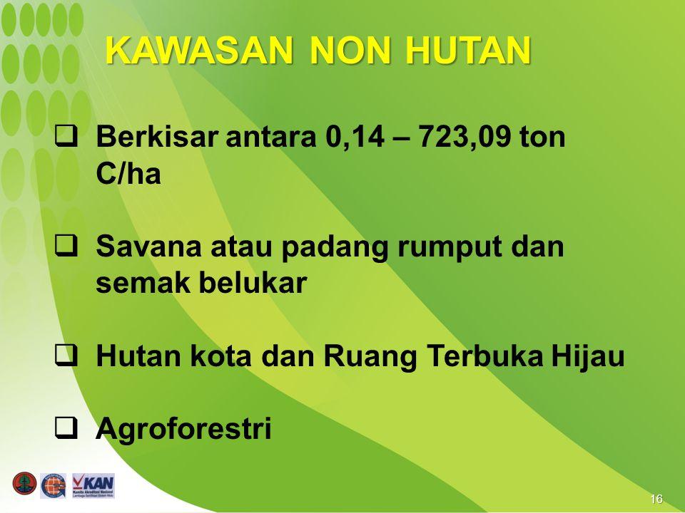 16 KAWASAN NON HUTAN  Berkisar antara 0,14 – 723,09 ton C/ha  Savana atau padang rumput dan semak belukar  Hutan kota dan Ruang Terbuka Hijau  Agroforestri