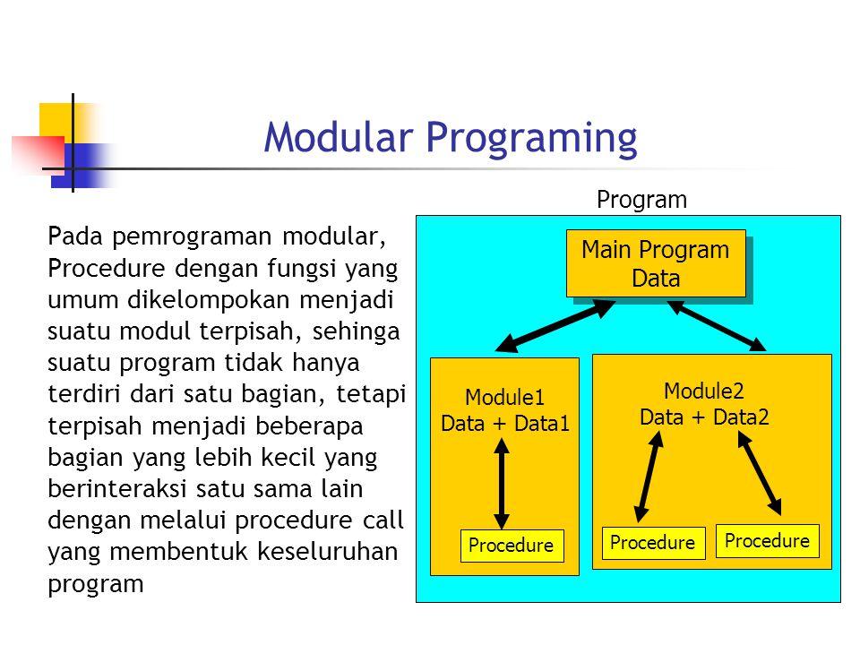 Modular Programing Pada pemrograman modular, Procedure dengan fungsi yang umum dikelompokan menjadi suatu modul terpisah, sehinga suatu program tidak hanya terdiri dari satu bagian, tetapi terpisah menjadi beberapa bagian yang lebih kecil yang berinteraksi satu sama lain dengan melalui procedure call yang membentuk keseluruhan program Program Main Program Data Main Program Data Procedure Module1 Data + Data1 Module2 Data + Data2