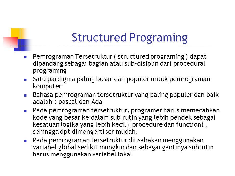 Structured Programing Pemrograman Tersetruktur ( structured programing ) dapat dipandang sebagai bagian atau sub-disiplin dari procedural programing Satu pardigma paling besar dan populer untuk pemrograman komputer Bahasa pemrograman tersetruktur yang paling populer dan baik adalah : pascal dan Ada Pada pemrograman tersetruktur, programer harus memecahkan kode yang besar ke dalam sub rutin yang lebih pendek sebagai kesatuan logika yang lebih kecil ( procedure dan function), sehingga dpt dimengerti scr mudah.
